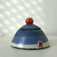 Ceramic lidded pot in red and blue - handmade stoneware pottery