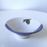 Stoneware ceramic bowl with flying gull image - handmade pottery