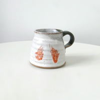 Rustic ceramic green, orange and white mugs - handmade stoneware pottery
