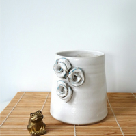 Cream-coloured ceramic vase with roses - handmade pottery