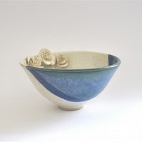 Ceramic bowl with roses in blue green purple and cream - handmade pottery