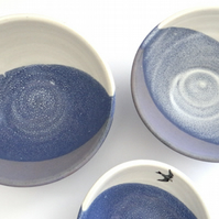 Ceramic nesting bowls with birds - set of 3 - handmade stoneware pottery