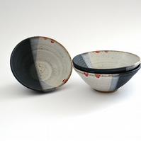 Red white and blue small ceramic bowl - handmade  pottery