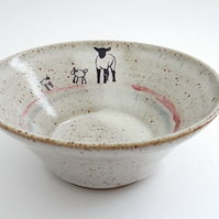 Handmade ceramic breakfast cereal soup bowl with lamb images - stoneware pottery