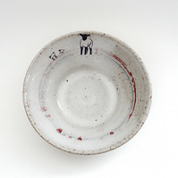 Modern ceramic bowl with lambs for breakfast lunch dinner - handmade pottery