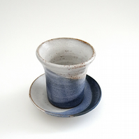 Ceramic cup tumbler beaker & saucer in nautical blues & white - handmade pottery