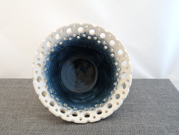 Decorative blue and white pierced bowl - handmade pottery