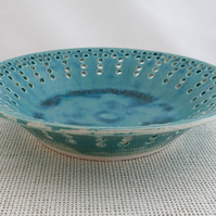 Rustic ceramic dish with pierced rim - emerald and deep sea green