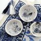 Set of 3 handmade ceramic trinket jewellery bowls - white, royal & midnight blue