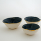 Set of 3 handmade ceramic trinket jewellery bowls, speckled blue, gilded rim