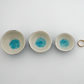Set of 3 handmade ceramic trinket jewellery bowls with glass centres