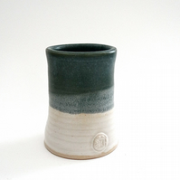 Ceramic vase in green and cream - handmade stoneware pottery