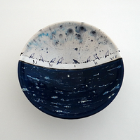 Ceramic bowl, birds on a wire under stormy sky - handmade pottery
