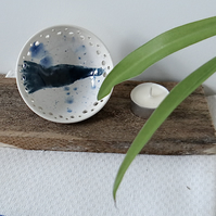 Blue and white ceramic trinket dish bowl - handmade stoneware pottery
