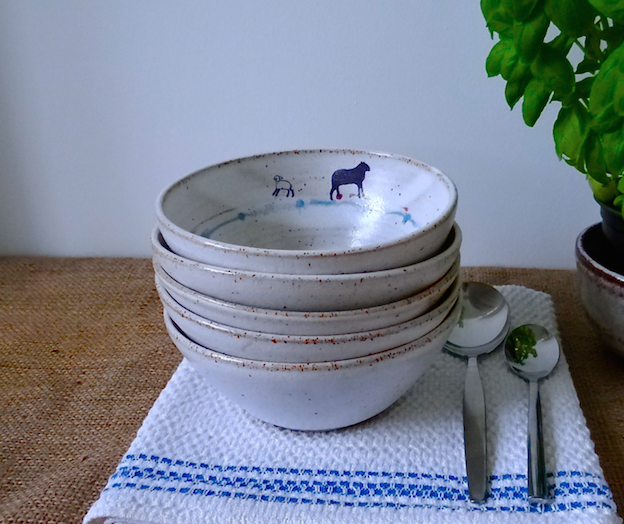 Rustic ceramic bowl for breakfast lunch dinner - handmade stoneware pottery