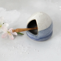 Ceramic salt cellar salt pig in blue and creamy white - handmade pottery