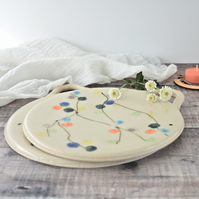 Multi-function ceramic platter cutting-board - handmade stoneware pottery
