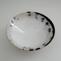 Ceramic bowl with lamb sheep in white blue and black - handmade pottery