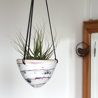 Ceramic hanging planter in white red and blue - handmade pottery