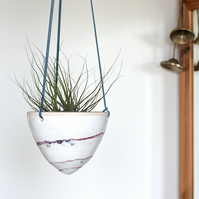 Cone-shaped hanging ceramic planter in red white and blue - handmade pottery