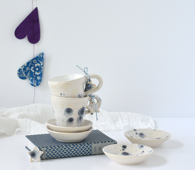 Handmade ceramic cup and saucer for espresso, coffee and wicked desserts