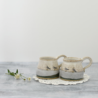 Rustic ceramic mug with seagulls in blue cream and green - handmade pottery