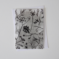 Monochrome Greeting Card with berries, grasses, leaves, fennel and thistles