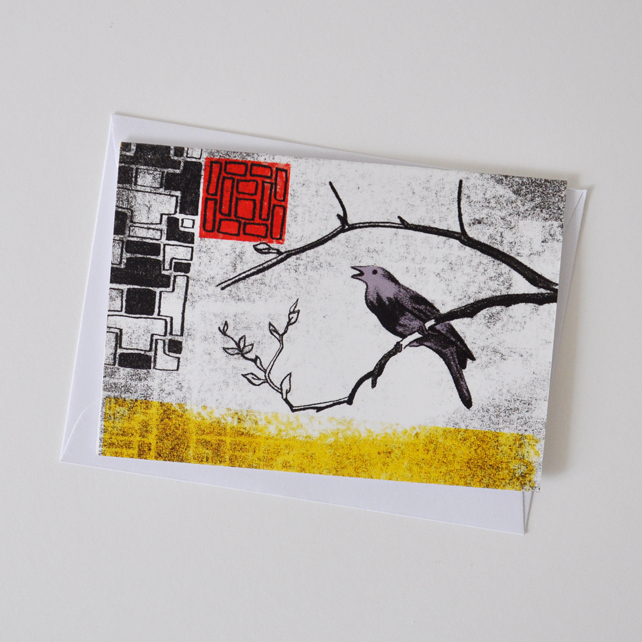 Nightingale Greeting Card for Lovers of Birds and Fairy Tales