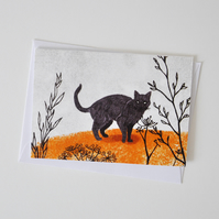 Black Cat Greeting Card for Lovers of Cats & Fairy Tales
