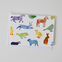 Multicoloured Country and Farmyard Animals Greeting Card
