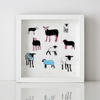 Fine Art Giclee Print - Sheepies - Unframed