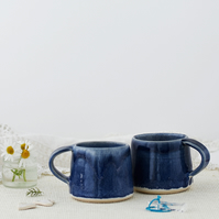 Handmade ceramic hygge espresso cup in blue and white - stoneware pottery