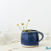 Handmade ceramic hygge mug in blue and white - stoneware pottery