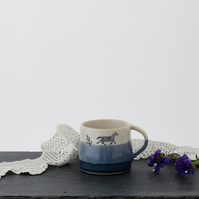 Blue and white espresso pony cup - illustrated stoneware pottery