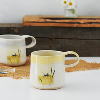 Fairy Tale Mug - The Grasshopper - Hans Christian Andersen - illustrated pottery