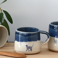 Blue and white ceramic cat espresso cup - handmade illustrated pottery