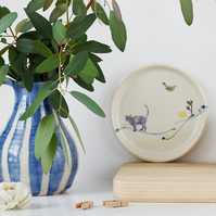 Art naive inspired ceramic plate with cat and bird - handmade stoneware pottery