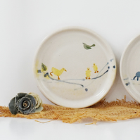 Art naive inspired ceramic plate with ducks and green bird - handmade pottery