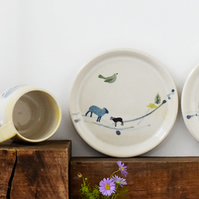 Art naive inspired ceramic plate with bird and sheep - handmade pottery