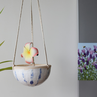 Cute blue and white ceramic hanging planter - handmade pottery