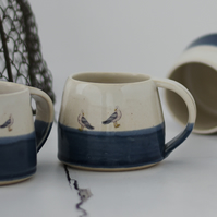 Blue and white ceramic mug with 2 tiny seagulls - handmade illustrated pottery