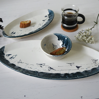 Birds on a wire oval plate - handmade stoneware pottery
