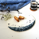 Bluegreen and white ceramic platter, birds on a wire oval dish, handmade pottery