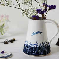 Handmade ceramic pitcher, hare jug, blue and white pitcher, illustrated ceramics