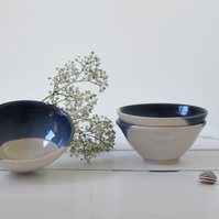 blue and white stoneware bowl - handmade pottery