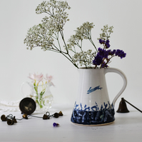 Ceramic pitcher with hare, blue and white illustrated ceramics, handmade pottery