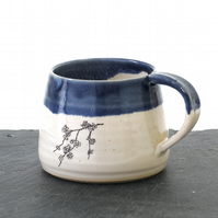 Blue and white ceramic flower blossom mug - handmade illustrated pottery