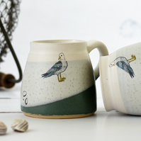 Handmade ceramic seagull mug, green and white pottery