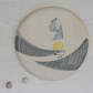 Coast inspired round ceramic platter for cheese etc - handmade pottery