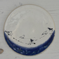 Birds on a wire blue and white round rimless plate - handmade pottery